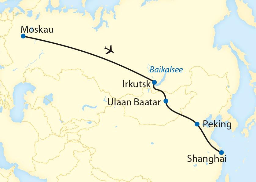 Bahnreise durch Russland, Sibirien, die Mongolei und China im Winter (2020)