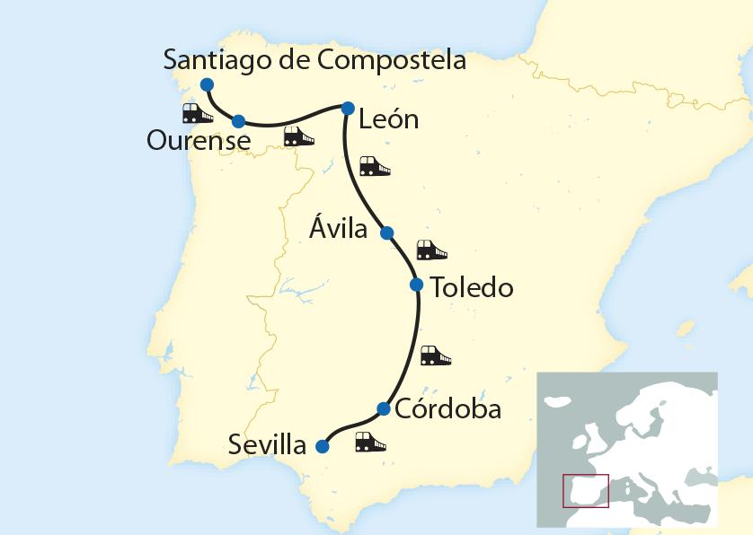 Exklusiv-Charter auf einzigartiger Route von Santiago de Compostela nach Sevilla (2019/2020)