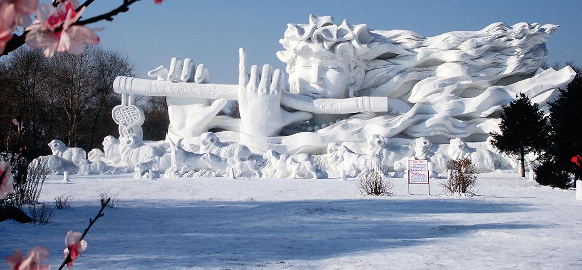 Reise in China, Skulptur beim Eisfestival in Harbin