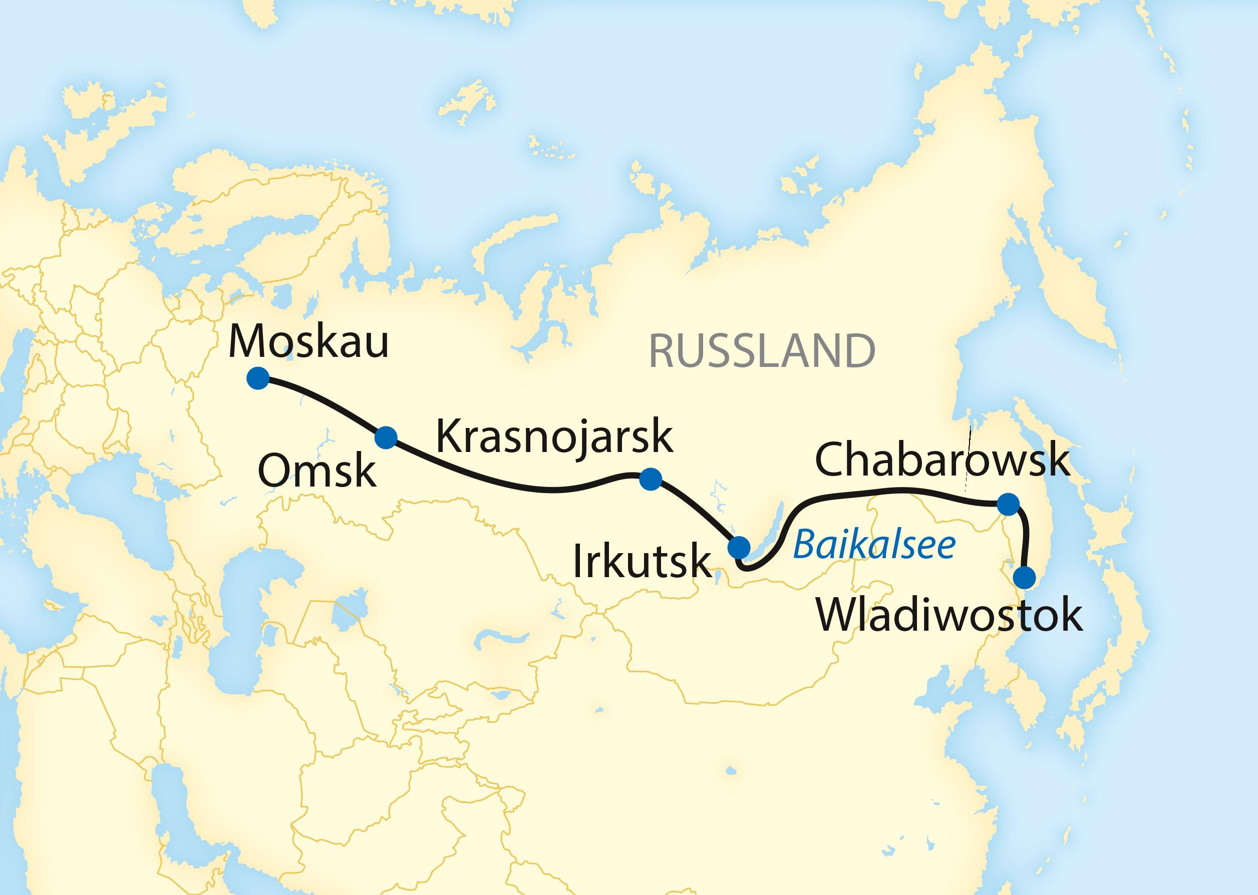Ausführliche Variante: Auf der Transsib von Moskau nach Wladiwostok (2020)