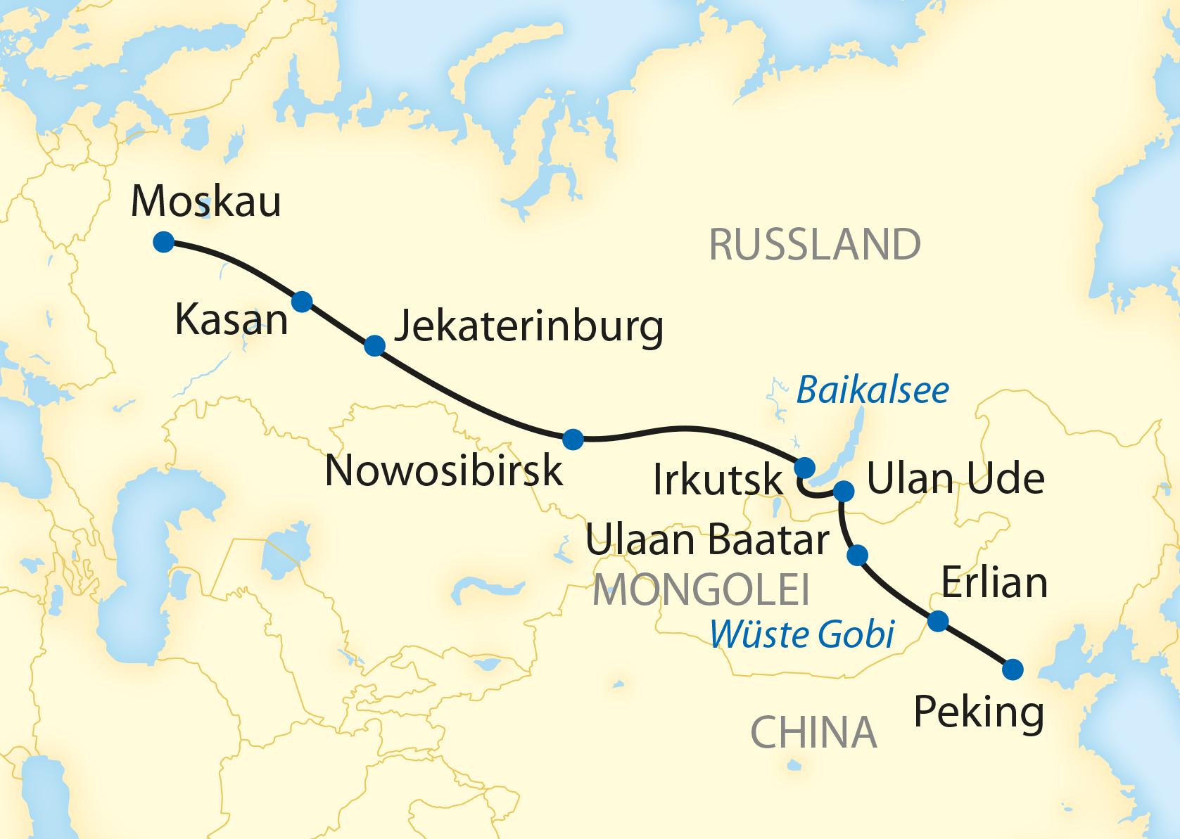 Sonderzugreise Zarengold auf der Transsibirischen Eisenbahn von Moskau nach Peking (2020)