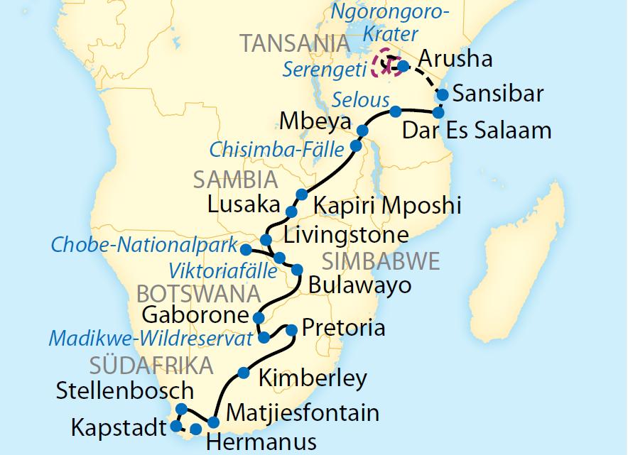 Exklusiv-Charter von Dar Es Salaam bis Kapstadt (2019/2020/2021)