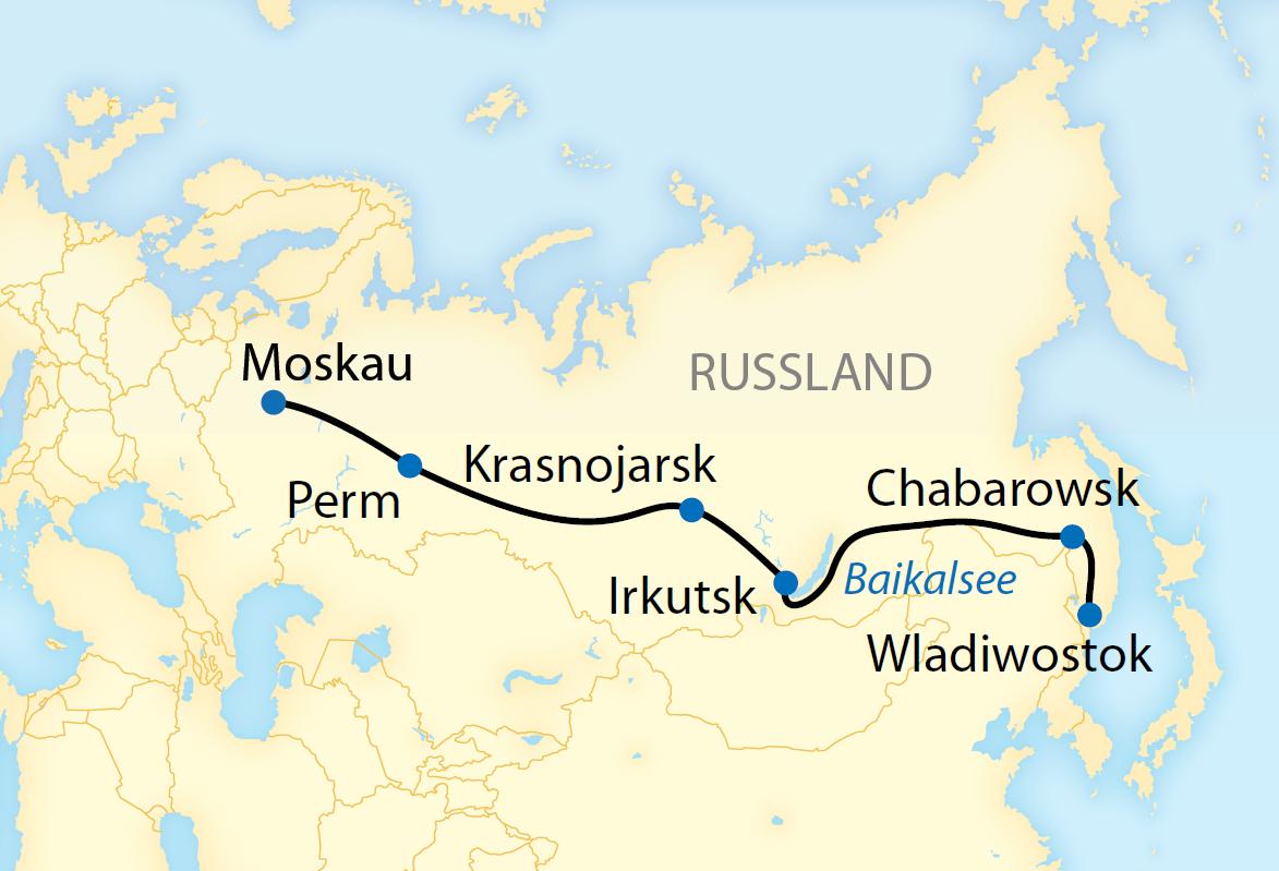 Auf der Transsib von Moskau nach Wladiwostok intensiv (2018/2019)