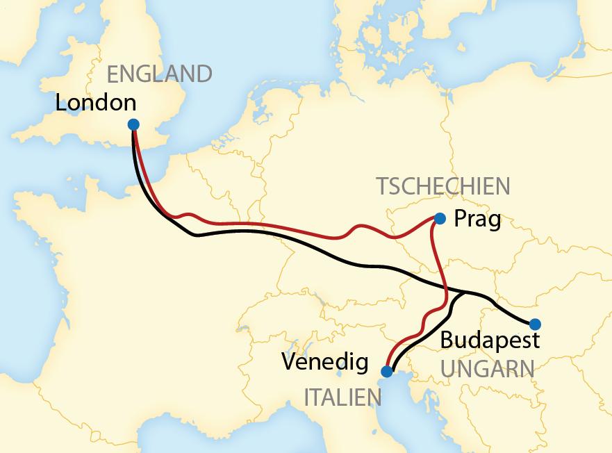 Von Venedig über Wien, Budapest oder Prag nach Paris (2019/2020)