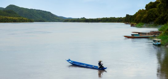 Fischer am Mekong in Laos