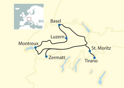 Route: 8-tägige First Class Bahn-Erlebnisreise auf den schönsten Bahnstrecken der Schweiz