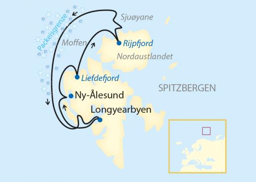 Reiseroute: 10-tägige Expeditions-Kreuzfahrt im Nordpolarmeer