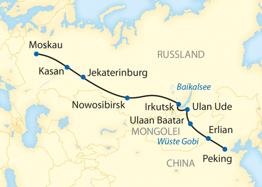 Reiseroute: 16-tägige Sonderzugreise von Peking durch die Mongolei zum Baikalsee und weiter nach Moskau